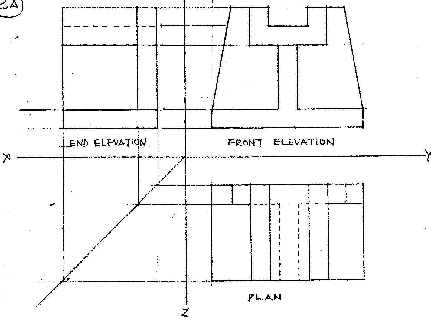 Elevation Plan And End View : Technical drawing paper may june